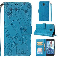 Embossing Fireworks Elephant Leather Wallet Case for Samsung Galaxy J7 (2018) - Blue
