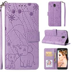 Embossing Fireworks Elephant Leather Wallet Case for Samsung Galaxy J7 (2018) - Purple