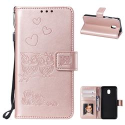 Embossing Owl Couple Flower Leather Wallet Case for Samsung Galaxy J7 (2018) - Rose Gold