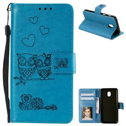 Embossing Owl Couple Flower Leather Wallet Case for Samsung Galaxy J7 (2018) - Blue