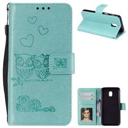Embossing Owl Couple Flower Leather Wallet Case for Samsung Galaxy J7 (2018) - Green