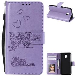 Embossing Owl Couple Flower Leather Wallet Case for Samsung Galaxy J7 (2018) - Purple