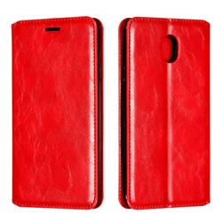 Retro Slim Magnetic Crazy Horse PU Leather Wallet Case for Samsung Galaxy J7 (2018) - Red