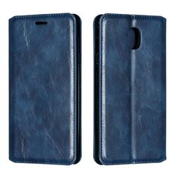 Retro Slim Magnetic Crazy Horse PU Leather Wallet Case for Samsung Galaxy J7 (2018) - Blue