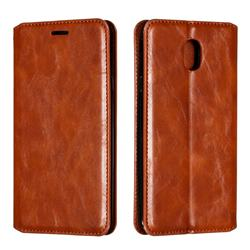 Retro Slim Magnetic Crazy Horse PU Leather Wallet Case for Samsung Galaxy J7 (2018) - Brown