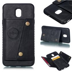 Retro Multifunction Card Slots Stand Leather Coated Phone Back Cover for Samsung Galaxy J7 (2018) - Black