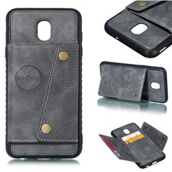 Retro Multifunction Card Slots Stand Leather Coated Phone Back Cover for Samsung Galaxy J7 (2018) - Gray