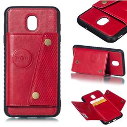 Retro Multifunction Card Slots Stand Leather Coated Phone Back Cover for Samsung Galaxy J7 (2018) - Red