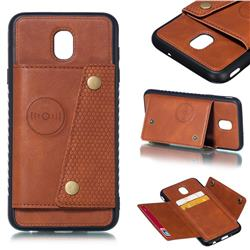 Retro Multifunction Card Slots Stand Leather Coated Phone Back Cover for Samsung Galaxy J7 (2018) - Brown