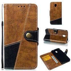 Retro Magnetic Stitching Wallet Flip Cover for Samsung Galaxy J7 (2018) - Brown