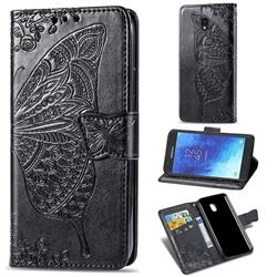 Embossing Mandala Flower Butterfly Leather Wallet Case for Samsung Galaxy J7 (2018) - Black