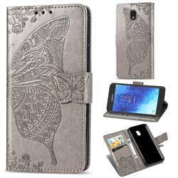 Embossing Mandala Flower Butterfly Leather Wallet Case for Samsung Galaxy J7 (2018) - Gray