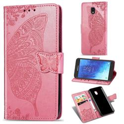 Embossing Mandala Flower Butterfly Leather Wallet Case for Samsung Galaxy J7 (2018) - Pink