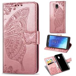 Embossing Mandala Flower Butterfly Leather Wallet Case for Samsung Galaxy J7 (2018) - Rose Gold