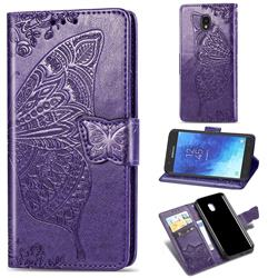 Embossing Mandala Flower Butterfly Leather Wallet Case for Samsung Galaxy J7 (2018) - Dark Purple