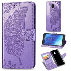 Embossing Mandala Flower Butterfly Leather Wallet Case for Samsung Galaxy J7 (2018) - Light Purple
