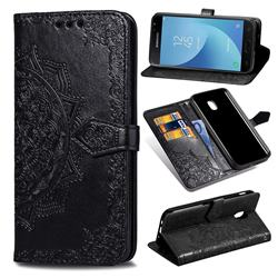 Embossing Imprint Mandala Flower Leather Wallet Case for Samsung Galaxy J7 (2018) - Black