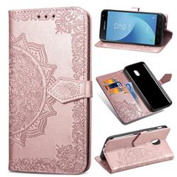 Embossing Imprint Mandala Flower Leather Wallet Case for Samsung Galaxy J7 (2018) - Rose Gold