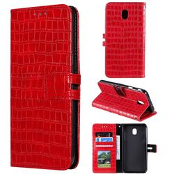 Luxury Crocodile Magnetic Leather Wallet Phone Case for Samsung Galaxy J7 (2018) - Red