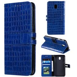Luxury Crocodile Magnetic Leather Wallet Phone Case for Samsung Galaxy J7 (2018) - Blue