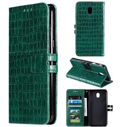 Luxury Crocodile Magnetic Leather Wallet Phone Case for Samsung Galaxy J7 (2018) - Green