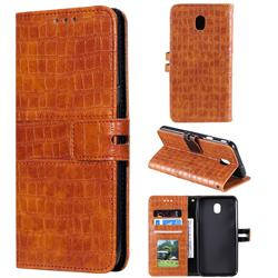 Luxury Crocodile Magnetic Leather Wallet Phone Case for Samsung Galaxy J7 (2018) - Brown