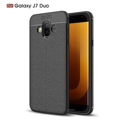 Luxury Auto Focus Litchi Texture Silicone TPU Back Cover for Samsung Galaxy J7 Duo - Black