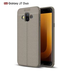 Luxury Auto Focus Litchi Texture Silicone TPU Back Cover for Samsung Galaxy J7 Duo - Gray