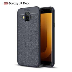 Luxury Auto Focus Litchi Texture Silicone TPU Back Cover for Samsung Galaxy J7 Duo - Dark Blue