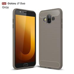 Luxury Carbon Fiber Brushed Wire Drawing Silicone TPU Back Cover for Samsung Galaxy J7 Duo - Gray