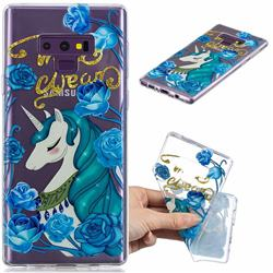 Blue Flower Unicorn Clear Varnish Soft Phone Back Cover for Samsung Galaxy J7 Duo