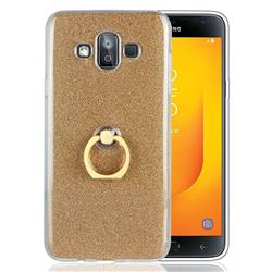 Luxury Soft TPU Glitter Back Ring Cover with 360 Rotate Finger Holder Buckle for Samsung Galaxy J7 Duo - Golden