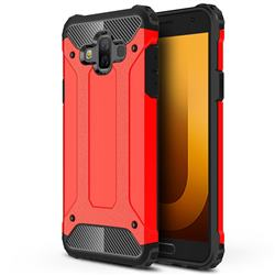 King Kong Armor Premium Shockproof Dual Layer Rugged Hard Cover for Samsung Galaxy J7 Duo - Big Red