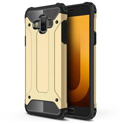 King Kong Armor Premium Shockproof Dual Layer Rugged Hard Cover for Samsung Galaxy J7 Duo - Champagne Gold