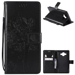 Embossing Butterfly Tree Leather Wallet Case for Samsung Galaxy J7 Duo - Black