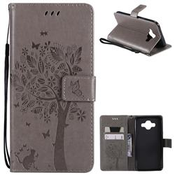Embossing Butterfly Tree Leather Wallet Case for Samsung Galaxy J7 Duo - Grey