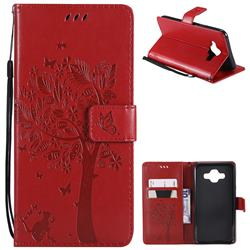 Embossing Butterfly Tree Leather Wallet Case for Samsung Galaxy J7 Duo - Red