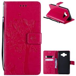 Embossing Butterfly Tree Leather Wallet Case for Samsung Galaxy J7 Duo - Rose