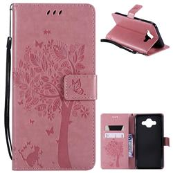 Embossing Butterfly Tree Leather Wallet Case for Samsung Galaxy J7 Duo - Pink