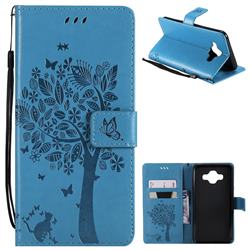 Embossing Butterfly Tree Leather Wallet Case for Samsung Galaxy J7 Duo - Blue