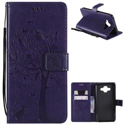 Embossing Butterfly Tree Leather Wallet Case for Samsung Galaxy J7 Duo - Purple