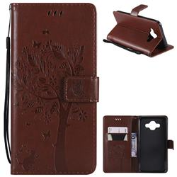 Embossing Butterfly Tree Leather Wallet Case for Samsung Galaxy J7 Duo - Brown