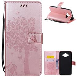 Embossing Butterfly Tree Leather Wallet Case for Samsung Galaxy J7 Duo - Rose Pink