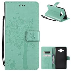 Embossing Butterfly Tree Leather Wallet Case for Samsung Galaxy J7 Duo - Cyan