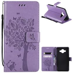 Embossing Butterfly Tree Leather Wallet Case for Samsung Galaxy J7 Duo - Violet