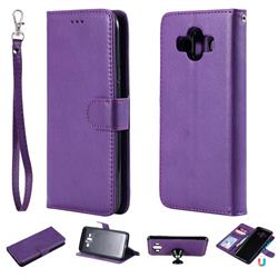 Retro Greek Detachable Magnetic PU Leather Wallet Phone Case for Samsung Galaxy J7 Duo - Purple