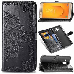 Embossing Imprint Mandala Flower Leather Wallet Case for Samsung Galaxy J7 Duo - Black