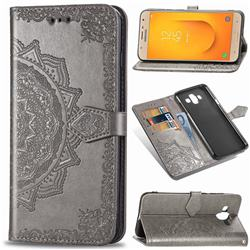 Embossing Imprint Mandala Flower Leather Wallet Case for Samsung Galaxy J7 Duo - Gray