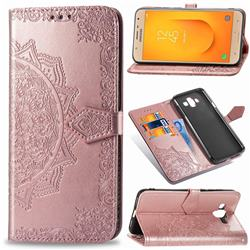 Embossing Imprint Mandala Flower Leather Wallet Case for Samsung Galaxy J7 Duo - Rose Gold