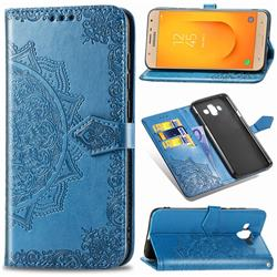 Embossing Imprint Mandala Flower Leather Wallet Case for Samsung Galaxy J7 Duo - Blue